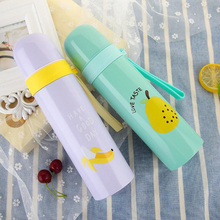 Vacuum 350ml 500ml Flasks Thermoses 350 ml Cute Fruit Insulated Travel Mug Bottle Stainless Steel Cups Portable Children(China)