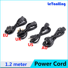 1pcs AC Power Cord Cable Desktop Monitor Computer Universal 3 Prong EU US UK AU Cord 1.2M Free shipping