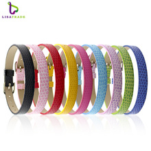 "8MM PU Leather Snake Wristband Bracelets "" Can Choose the Color""  (20 pieces/lot) DIY Accessory Fit Slide Letter LSBR03*20"