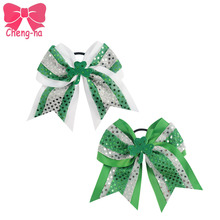 Girl St.Patrick's Day Cheerleading Bow With Elastic Band Handmade Big Ribbon Cheer Bow With Ponytail Tail Girls Hair Accessories