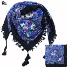 2017 hot sale new fashion woman Scarf square scarves short tassel floral printed Women Wraps Winter lady shawls free shipping-03(China)