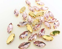 Pink Gold bottom horse eye sew on stones with holes, AAA Glass Crystal claw rhinestones Sewing On Garment DIY accessories