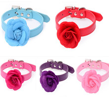 10pcs Mixed Colors Dog Cat Collar with Rose flower Puppy Necklace Studded Rhinestone Leather Collars Bow Necklace(China)
