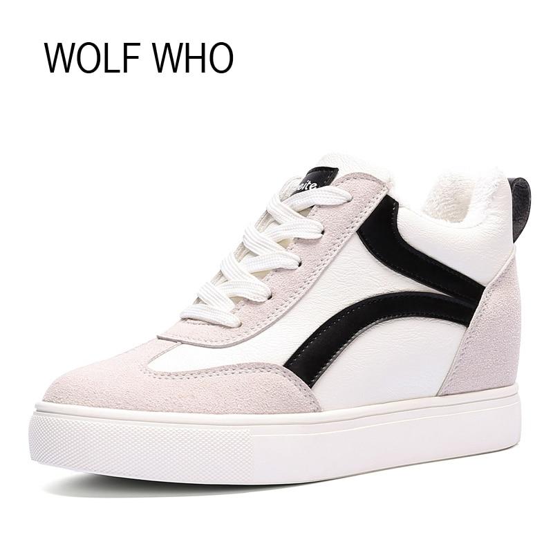 WOLF WHO Women Winter Shoes Fur Wedge Fashion Sneakers Women Hidden Heels Basket Femme Tenis Femininos Casual H-152<br>