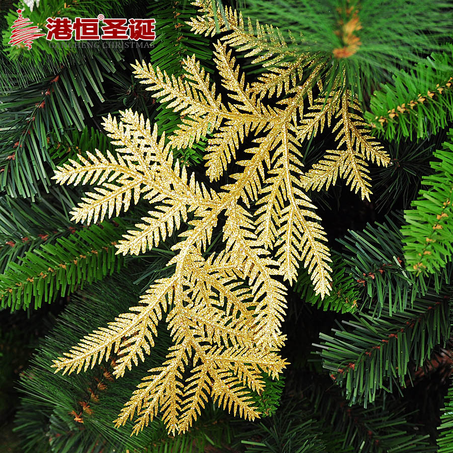 2 Piece Christmas Golden Silver Tree Branches Leaf Christmas Tree Decorative Gifts Ornaments Supplies Creative Kids Funny Toys