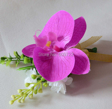 New 6pcs Latex Fabric Prom Artificial Orchid Boutonniere Wedding Church Decor Corsage Wrist Flower Pin Purple FL1739