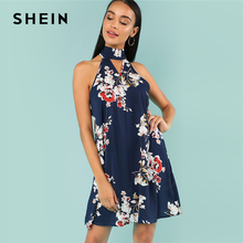 Buy SHEIN Multicolor Vacation Bohemian Beach Floral Print Halter V Cut Choker Neck Sleeveless Short Dress Summer Women Sexy Dresses