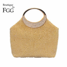 Dazzling Women Gold Crystal Evening Totes Bags Bridal Diamond Handbags Purses Wedding Clutches Ladies Party Prom Clutch Bag