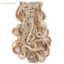 SNOILITE 18 Clips in Hair Extensions Synthetic Hairpiece 24inch Curly Real Styling 8pcs/set Party Cosplay Extension For Human(China)