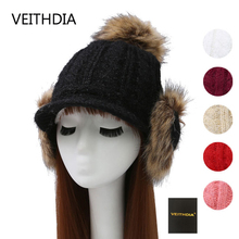 VEITHDIA 2017 new autumn and winter big hair ball bag ear knitted hat ladies outdoor warm plus cashmere baseball cap