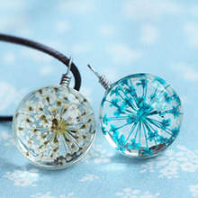Buy Fashion Glass Ball Dried Flower Pendant Necklace Black Wap Rope Chain Statement Necklace Women Best Jewelry for $1.07 in AliExpress store