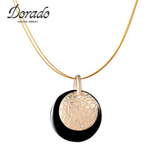 New Arrival Simple Design Unique Fashion Gold Crystal Pendant Necklace Women Party Show Jewelry(China)
