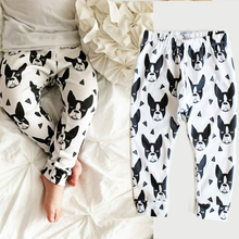 Hot Fashion New Baby Clothes Infant Kids Boys Bottoms Elastic Long Pants Animal Star Cross Geometric Print Trousers White Dark