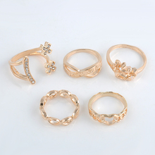 Fashion 5pcs/Set  Smile Face Rings Stackable Midi Ring Set Of Rings for Women Party Adjustable Free Shipping