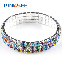 Men/Women Colorful 3/4 Rows Resin Drill Tennis Bracelet Crystal Rhinestone Hip Hop Bling Bracelets Jewelry High Quality