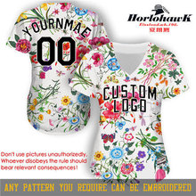 Horlohawk 2017 New Baseball Jersey Custom Embroidery Name Number Logo US Size Women's High Quality Print Flowers White Jersey