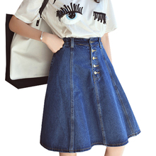 Nice Fashion New Stylish Denim Skirts Womens a-line Jeans Front Button Skirt Women knee-length Jean Skirt ZY448