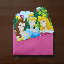 6pcs Cards and 6pcs Envelopes Princess theme Invitation Cards for Kids Birthday Party Festival Supplies Card