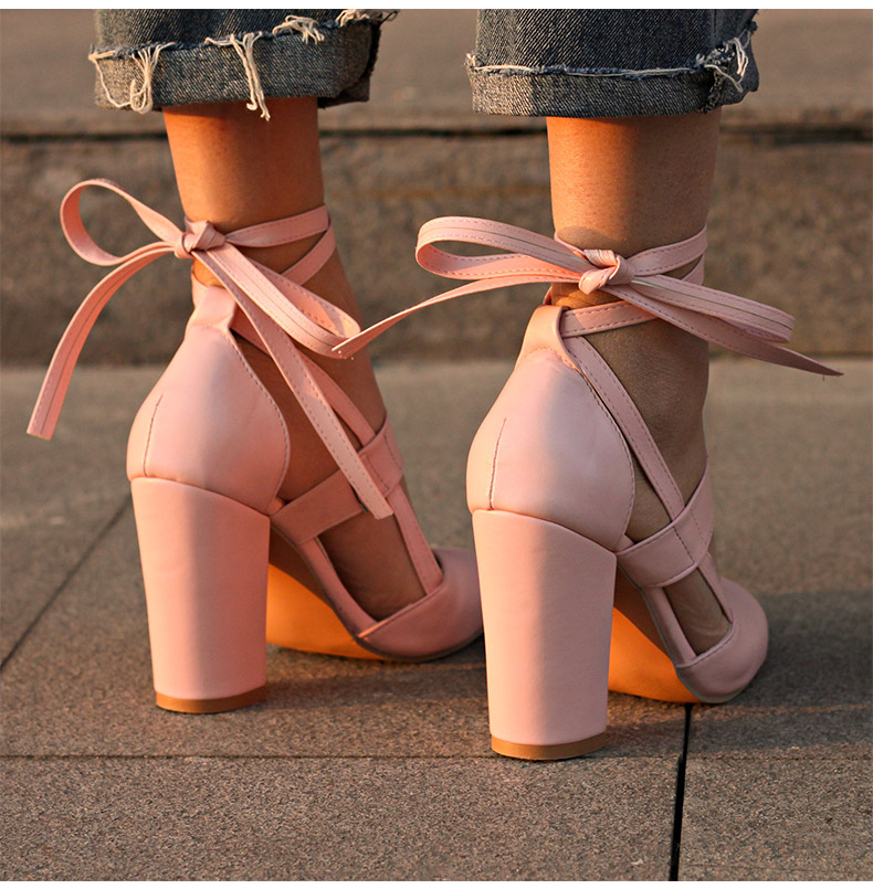 Women Pumps Comfortable Thick Heels Women Shoes Brand High Heels Ankle Strap Women Gladiator Heeled Sandals 8.5CM Wedding Shoes 6