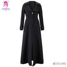 Yomsong   Winter Women's Wool Maxi Coat Longer section Mopping  Slim Dress Coat