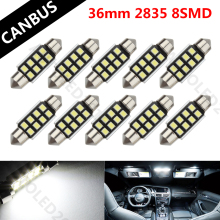 10pcs LED 36mm White CANbus C5W Bulbs For Samsung 2835 8 SMD License Plate Light For BMW E39 E36 E46 E90 E60 E30 E53 E70