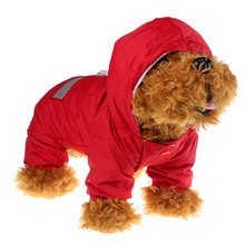 Red & Yellow Pet Rain Coat Clothes Dogs Puppy Casual Waterproof Jacket Ropa De Verano Para Perros Dog Raincoat Jumpsuit(China)