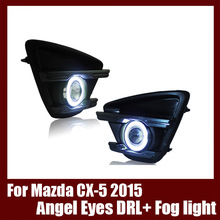 For Mazda CX-5 2015 COB Angel Eyes DRL with Fog lights Projector Lens Lamp Bumper Cover