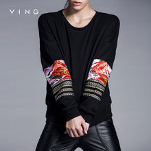 VING 2017 Winter New Model Women O-Neck Baseball Uniform Loose Casual Pollover Black Sweatershirts