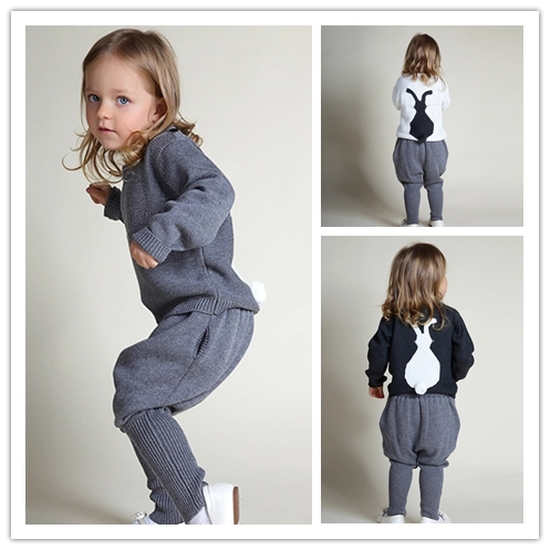 ins* 2017 baby girl spring cotton knitted clothing set kids autumn sweaters with pants rabbit pattern high quality free shipping<br><br>Aliexpress
