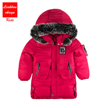New Brand Children Cold Winter Down Girls Thickening Warm Down Jackets Boys Long Big Fur Hooded Outerwear Coats Kids Down Jacket(China)