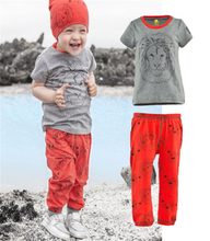 2017 summer style baby boys clothing set kids boy Lion Tops T-shirt Pants 2pcs suit Trackksuit childrens clothing(China)