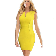 Ladies' V-Neck Sheath Party Dinner Dress Celebrity Pencil Dress Women Wear to Work Slim Bodycon Dress Yellow S/M/L/XL