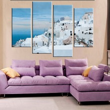 4 Panel Greece Aegean Sea Canvas Painting Art Home Decor Canvas Poster Print Wall Pictures For Living Room Frameless(China)
