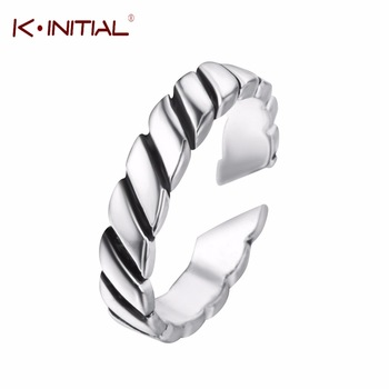 Kinitial 925 Sterling Silver Vintage Geometric Ring Jewelry Thai Silver Twisted Open Rings for Women Birthday Gift Bijoux