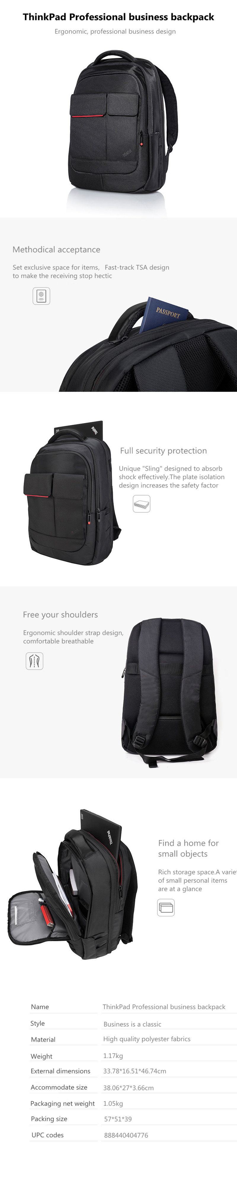 Free shipping Lenovo ThinkPad 15.6 inch business double shoulder computer backpack 43R2482 upgraded 4X40E77324