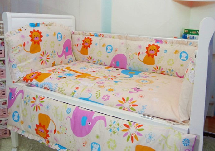 Promotion! 6PCS baby bedding bed around piece set 100% cotton cot nursery (bumpers+sheet+pillow cover)<br><br>Aliexpress