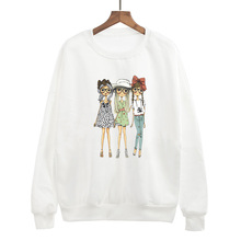 Autumn Winter Wolf Stiles Women Jumper Cotton Harajuku Hoodies Girlfriend For Lady Fashion Funny Hip Hop Sweatshirt