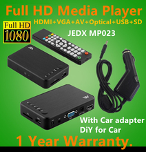 JEDX MP023 Full HD 1080P Car Media Player HDMI,AV output,3D HDTV USB SD Cardreader with Car adapter AV Cable GIFT Free shipping!