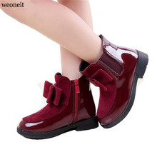 Weoneit New Autumn Winter Fashion Girls Boots Children Flat Shoes Zip Red Black Wine Red PU Ankle Kid Shoes Size 27-37(China)