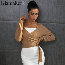 Glamaker Wrap knitted sweater women Autumn winter chic casual sweater jumper Loose cardigans asymmetrical hem(China)