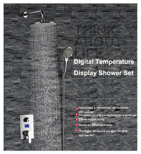 Water Power Concealed LED Shower Temperature Control Rainfall & Massage Shower Digital Shower Temperature Control Sets(China)