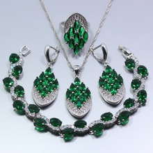 Fabulous 4PCS Jewelry Set 925 Silver Green Zircon Earrings Ring Necklace Pendant Bracelet For Women Z118