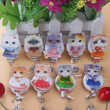 High-quality acrylic Cartoon Miss Cats Retractable Badge Reel Student Nurse Exihibiton ID Name Card Badge Holder Office Supplies(China)