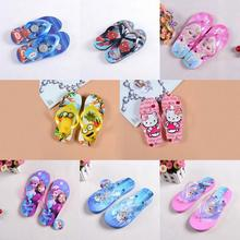 2017 summer Children girl's Elsa &hello kitty Slippers Flip flops Big girl cartoon boy Spiderman Thomas Minions flip TX06