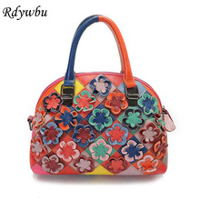 Rdywbu 2017 Luxury Genuine Cow Leather Tote Handbag Women's Colourful Flowers Patch Shoulder Bag Plaid Sewing Messenger Bag B291