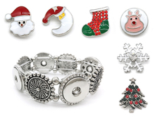 Fashion Ginger Snaps Jewelry 18mm Sun Snap Button DIY One Bracelet with 6 Piece Christmas Tree Deer Snap Button Christmas Gift