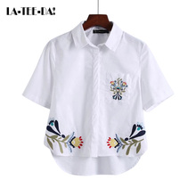 La-Tee-Da!2017 New Embroidery Flower Blouses Women Turn Collar Short Sleeves Pocket Shirts Lady Fashion Casual Female OL Vestido