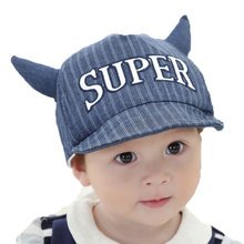 Unisex Baby Soft Brim Baseball Cap Cow Horn Hat Children Kids Letter Design Adjustable Stripe Baseball Hat Cotton MZ3861