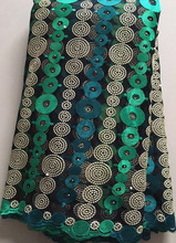 ELL2983 New Designs African French Lace Fabric High Quality Nigeria French Net Lace 2017 With Stones and Beaded For Women green