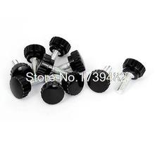 M8 x 25mm Male Thread Plastic Knurled Head Clamping Knob Jig Black 10pcs